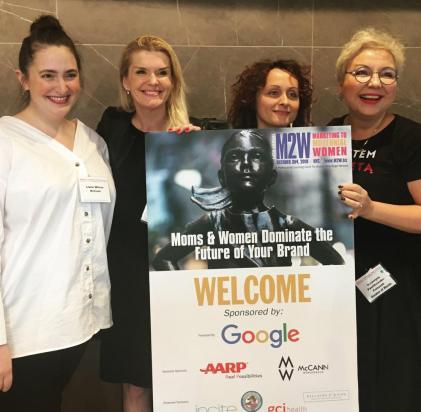 Na zdjęciu od lewej: Lizzie Wilson - dyrektor kreatywna odpowiedzialna za projekt #FearlessGirl, McCann New York; Jola Burnett - Vice President, GfK; Iwona Michalczyk – dyrektor zarządzająca, Grupa Garden of Words; Katarzyna Pawlikowska - założycielka Garden of Words